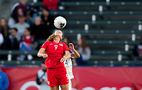 CARSON, CA - FEBRUARY 07: Jordyn Huitema #9 of Canada with a head ball during a game between Canada and Costa Rica at Dignity Health Sports Complex on February 07, 2020 in Carson, California.
