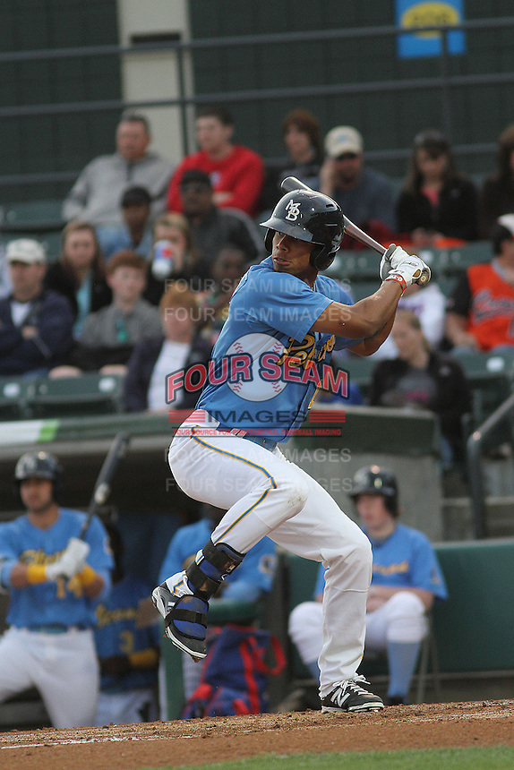 Myrtle Beach Pelicans outfielder Nick Williams #1 at bat during a game against the Salem Red Sox at Ticketreturn.com Field at Pelicans Ballpark on April 4, 2014 in Myrtle Beach, South Carolina. Salem defeated Myrtle Beach 4-0. (Robert Gurganus/Four Seam Images)