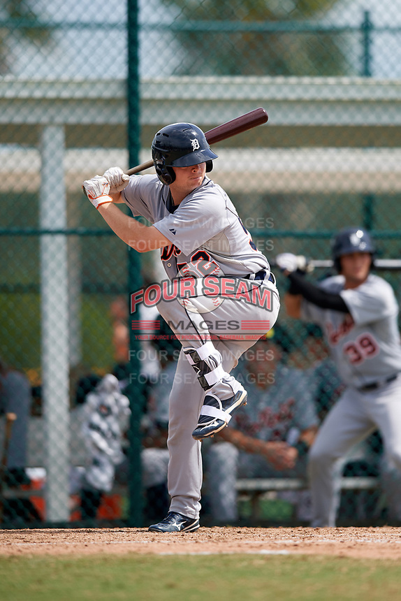 Detroit Tigers catcher Jake Rogers (52) at bat during an Instructional League game against the Pittsburgh Pirates on October 6, 2017 at Pirate City in Bradenton, Florida.  (Mike Janes/Four Seam Images)