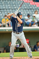 Brad Eldred #44 of the Toledo Mud Hens at bat against the Charlotte Knights at Knights Stadium on May 7, 2012 in Fort Mill, South Carolina.  (Brian Westerholt/Four Seam Images)