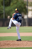 Milwaukee Brewers relief pitcher Justin Bullock (90) delivers a pitch during an Instructional League game against the Los Angeles Dodgers at Maryvale Baseball Park on September 24, 2018 in Phoenix, Arizona. (Zachary Lucy/Four Seam Images)