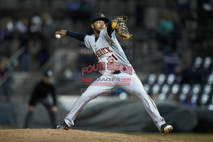 Frederick Keys relief pitcher Luis Perez (51) in action against the Winston-Salem Dash at BB&T Ballpark on April 26, 2019 in Winston-Salem, North Carolina. The Keys defeated the Warthogs 7-0. (Brian Westerholt/Four Seam Images)