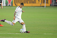 WASHINGTON, DC - AUGUST 25: Gustavo Bou #7 of New England Revolution moves the ball during a game between New England Revolution and D.C. United at Audi Field on August 25, 2020 in Washington, DC.
