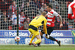 Doncaster Rovers v Sheffield Wednesday<br /> 22.3.2014<br /> Sky Bet League Championship<br /> Picture Shaun Flannery/Trevor Smith Photography<br /> Chris Brown beats Wednesday keeper Chris Kirkland to score the first goal for Rovers.
