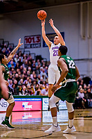 19 January 2019: University of Vermont Catamount Guard Ernie Duncan, a Redshirt Senior from Evansville, IN, goes up for 3 points in first half Men's Basketball action against the Binghamton University Bearcats at Patrick Gymnasium in Burlington, Vermont. Duncan notched his third 20-point outing of the season with a game-high 20 points as the Catamounts defeated the Bearcats 78-50 to remain unbeaten in conference play to date this season. Mandatory Credit: Ed Wolfstein Photo *** RAW (NEF) Image File Available ***