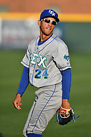 Center fielder Marten Gasparini (24) of the Lexington Legends in a game against the Greenville Drive on Wednesday, April 12, 2017, at Fluor Field at the West End in Greenville, South Carolina. Greenville won, 4-1. (Tom Priddy/Four Seam Images)