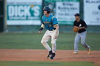 Caleb Jacobs (25) (Mount Olive) of the Mooresville Spinners takes his lead off of second base against the Concord A's at Moor Park on July 31, 2020 in Mooresville, NC. The Spinners defeated the Athletics 6-3 in a game called after 6 innings due to rain. (Brian Westerholt/Four Seam Images)