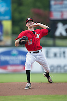 Kannapolis Intimidators starting pitcher Zack Erwin (17) in action against the Hagerstown Suns at CMC-Northeast Stadium on August 16, 2015 in Kannapolis, North Carolina.  The Suns defeated the Intimidators 4-3 in game two of a double-header.  (Brian Westerholt/Four Seam Images)