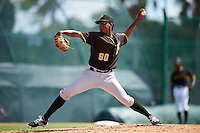 Pittsburgh Pirates pitcher Domingo Robles (90) during an Instructional League Intrasquad Black & Gold game on September 28, 2016 at Pirate City in Bradenton, Florida.  (Mike Janes/Four Seam Images)