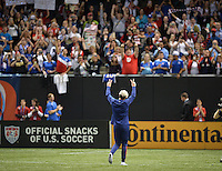 New Orleans, Louisiana - Wednesday, December 16, 2015: The USWNT lose 0-1 to China during their Victory Tour at Mercedes-Benz Superdome. Abby Wambach walks off the field and waves to the fans for the last time.