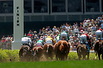 Horses cross the finish line in the Churchill Distaff Turf Mile at Churchill Downs in Louisville, Kentucky on May 6, 2006.  Barbaro, ridden by Edgar Prado, won the 132nd Kentucky Derby in the tenth race of the day....