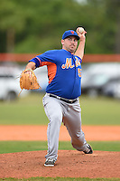 New York Mets pitcher Alex Panteliodis (57) during a minor league spring training game against the St. Louis Cardinals on March 27, 2014 at the Port St. Lucie Training Complex in Port St. Lucie, Florida.  (Mike Janes/Four Seam Images)