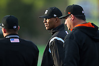 Base umpire Jose Navas listens along with Delmarva Shorebirds manager Ryan Minor (44) as the ground rules are explained prior to the South Atlantic League game against the Kannapolis Intimidators at Kannapolis Intimidators Stadium on April 11, 2016 in Kannapolis, North Carolina.  (Brian Westerholt/Four Seam Images)