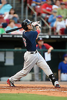 Pawtucket Red Sox second baseman Derrik Gibson (16) at bat during a game against the Buffalo Bisons on August 23, 2014 at Coca-Cola Field in Buffalo, New  York.  Buffalo defeated Pawtucket 15-2.  (Mike Janes/Four Seam Images)