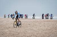 Wout van Aert (BEL/Jumbo-Visma) creating a gap on the coastline<br /> <br /> UCI 2021 Cyclocross World Championships - Ostend, Belgium<br /> <br /> Elite Men's Race<br /> <br /> ©kramon