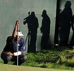 1 September 2008: Vijay Singh lines up a biridie putt during his final round 63 at the Deutsche Bank Golf Championship in Norton, Massachusetts. Singh won the event.