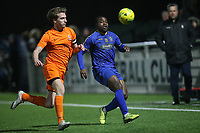 Jack Edwards of Brentwood and Mekhi Leacock McLeod during Romford vs Brentwood Town, BetVictor League North Division Football at Parkside on 11th February 2020