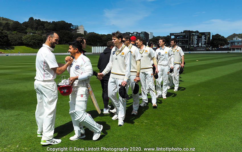 The teams walk from the pitch on day four of the Plunket Shield match between the Wellington Firebirds and Canterbury at Basin Reserve in Wellington, New Zealand on Thursday, 22 October 2020. Photo: Dave Lintott / lintottphoto.co.nz
