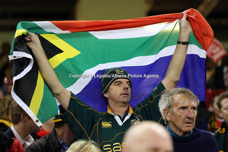 Pictured: A South Africa supporter with a flag Saturday 29 November 2014<br /> Re: Dove Men Series 2014 rugby, Wales v South Africa at the Millennium Stadium, Cardiff, south Wales, UK.