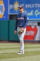 Cavan Biggio (6) of the New Hampshire Fisher Cats stands in short right field during a game against the Hartford Yard Goats at Dunkin Donuts Park on April 8, 2018 in Hartford, Connecticut. (Gregory Vasil/Four Seam Images)