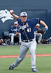 March 29, 2012:  BYU Cougars pitcher Chris Capper makes the throw to first against the Nevada Wolf Pack during their NCAA baseball game played at Peccole Park on Thursday afternoon in Reno, Nevada.