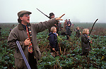 Childrens Shoot UK shooting Hampshire England Pheasant shoot.  Rural sport teaching kids about countryside sports 2000s