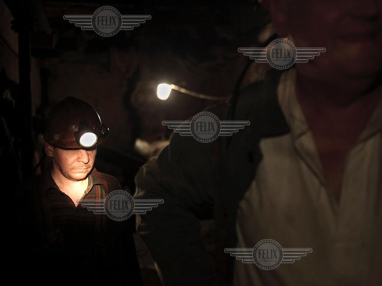 Miners in the Navagrodovskaya coal mine, West Donetsk.