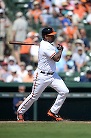 Baltimore Orioles outfielder Delmon Young (27) during a Spring Training game against the Tampa Bay Rays on March 14, 2015 at Ed Smith Stadium in Sarasota, Florida.  Tampa Bay defeated Baltimore 3-2.  (Mike Janes/Four Seam Images)