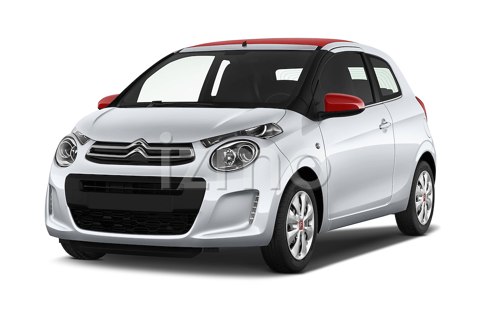 2015 Citroen C1 Airscape-Feel-Edition 3 Door Micro Car Angular Front stock photos of front three quarter view