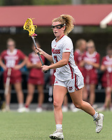 NEWTON, MA - MAY 14: Amy Moreau #3 of University of Massachusetts looks to pass during NCAA Division I Women's Lacrosse Tournament first round game between University of Massachusetts and Temple University at Newton Campus Lacrosse Field on May 14, 2021 in Newton, Massachusetts.