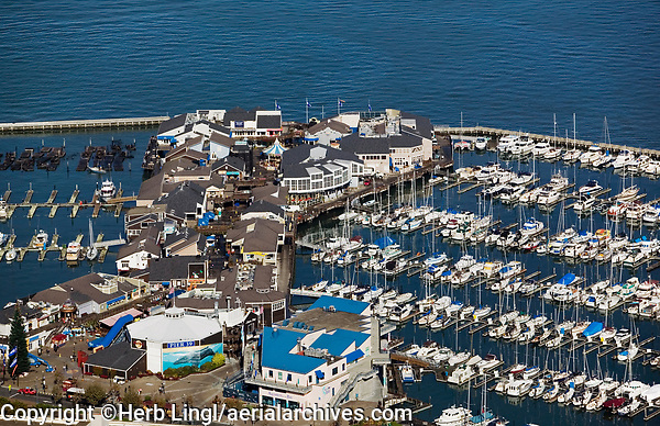 aerial photograph of the Pier 39 retail and tourist area, San Francisco, California