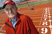 Arkansas Democrat-Gazette/AARON SKINNER<br /><br />Arkansas head track coach John McDonnell in the new track complex named for him at the University of Arkansas in Fayetteville Friday.<br /><br />5-5-06