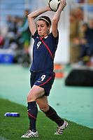 Heather O'Reilly throws the ball in play. The USA captured the 2010 Algarve Cup title by defeating Germany 3-2, at Estadio Algarve on March 3, 2010.