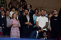 Jorge Garbajosa and his wife Alejandra Dominguez  with willy Hernangomez and Juancho Hernangomez during the Atletico de Madrid against Juventus Uefa Champions League football match at Wanda Metropolitano stadium in Madrid on September 18, 2019.