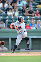 Catcher Jonathan Morales (8) of the Rome Braves bats in a game against the Greenville Drive on Thursday, July 28, 2016, at Fluor Field at the West End in Greenville, South Carolina. Greenville won, 5-4. (Tom Priddy/Four Seam Images)