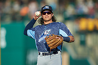 West Michigan Whitecaps third baseman Nick Quintana (10) during the game against the Fort Wayne TinCaps at Parkview Field on August 5, 2019 in Fort Wayne, Indiana. The TinCaps defeated the Whitecaps 9-3. (Brian Westerholt/Four Seam Images)