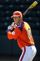 Second baseman Steve Wilkerson (17) of the Clemson Tigers prior to the Reedy River Rivalry game against the South Carolina Gamecocks on March 1, 2014, at Fluor Field at the West End in Greenville, South Carolina. South Carolina won, 10-2.  (Tom Priddy/Four Seam Images)