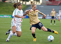 Kristine Lilly battles for the ball with Mexico's Isabel Valdez..International friendly, USA Women vs Mexico, Albuquerque, NM,.October 20, 2006.