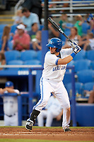 Dunedin Blue Jays designated hitter Alberto Mineo (44) at bat during a game against the Tampa Tarpons on June 2, 2018 at Dunedin Stadium in Dunedin, Florida.  Dunedin defeated Tampa 4-0.  (Mike Janes/Four Seam Images)
