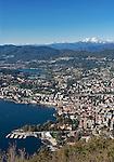 Switzerland, Ticino, view from Monte Bre across Lago Lugano and Lugano city   Schweiz, Tessin, Blick vom Monte Bre auf Lugano am Luganer See