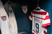 The locker for Heather O'Reilly (9) of the United States (USA). The United States (USA) and Germany (GER) played to a 2-2 tie during an international friendly at Rentschler Field in East Hartford, CT, on October 23, 2012.