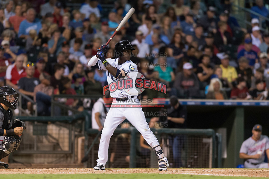 AFL West shortstop Lucius Fox (5), of the Peoria Javelinas and Tampa Bay Rays organization, at bat during the Arizona Fall League Fall Stars game at Surprise Stadium on November 3, 2018 in Surprise, Arizona. The AFL West defeated the AFL East 7-6 . (Zachary Lucy/Four Seam Images)