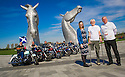 Dr Bob Grant, who lost his leg to cancer, is joined by Louise Duncan, Maggie's Fund raising organiser, Maggie's Board Member Allan Crow, and riders from the Harley Davidson Dunedin Chapter, as he launches the fundraising drive for his 117-mile walk for Maggie's at the Kelpies......<br /> <br /> Dr Bob's walk will start on Saturday 13 June at the Kelpies. Walking for nine continuous days, joined by groups of friends and supporters along the way, Bob will arrive at Maggie's Dundee on Sunday 21 June. On the final day of his walk, Dr Bob will be joined by up to 100 riders from Harley Davidson Dunedin Chapters throughout Scotland..... <br /> <br /> (See Press release from Helen Harris, Maggies PR Officer Scotland. T: 0141 225 0082. M: 07769145260)