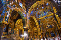 Medieval Byzantine style mosaics of the main aisle of the  Palatine Chapel, Cappella Palatina, Palermo, Italy