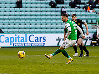 21st April 2021; Easter Road, Edinburgh, Scotland; Scottish Premiership Football, Hibernian versus Livingston; Martin Boyle of Hibernian scores their second goal from the penalty spot after a foul by Efe Ambrose in the box in the 26th minute