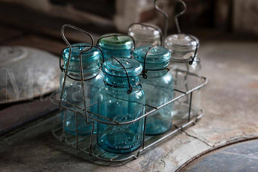 Antique preserve jars at Caterbury Shaker Village, New Hampshire, USA