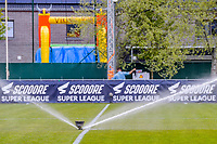 watering the field pictured before a female soccer game between AA Gent Ladies and Oud Heverlee Leuven on the fourth matchday of play off 1 in the 2020 - 2021 season of Belgian Scooore Womens Super League , saturday 1 st of May 2021  in Oostakker , Belgium . PHOTO SPORTPIX.BE | SPP | STIJN AUDOOREN