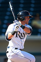 Mesa Solar Sox outfielder Jake Bauers (21) at bat during an Arizona Fall League game against the Glendale Desert Dogs on October 14, 2015 at Sloan Park in Mesa, Arizona.  Glendale defeated Mesa 7-6.  (Mike Janes/Four Seam Images)