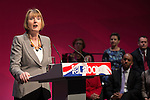 © Joel Goodman - 07973 332324 . 13/04/2015 . Manchester , UK . HARRIET HARMAN introduces Ed Miliband . Labour Party leader Ed Miliband launches the Labour Party manifesto ahead of the General Election , at a speech and Q&A at the Old Granada Studios in Manchester , UK . Photo credit : Joel Goodman