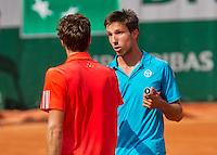 France, Paris , May 24, 2015, Tennis, Roland Garros, Igor Sijsling (NED) (R) congratulates winner Ernest Gulbis (LAT)<br /> Photo: Tennisimages/Henk Koster